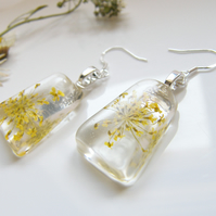 Real Lace Flower Earrings in Resin - SUNSHINE LACE