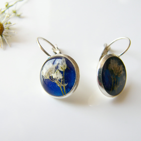 Pressed Flower Earrings in Blue Eco Friendly Resin