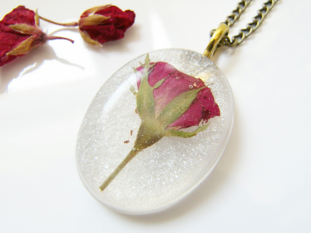 Valentines Real Rose Necklace - Pressed Flower Botanical Jewellery