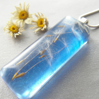Dandelion Seeds in Blue Resin Necklace Pendant - Nature Specimen - MAKE A WISH