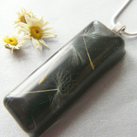 Dandelion Seeds in Black Resin Necklace Pendant - Nature Specimen - 3 Wishes