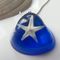 Real Starfish Blue Resin Pendant