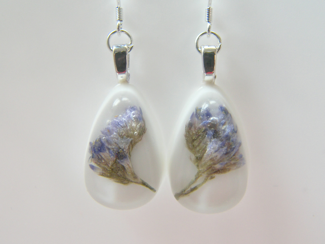 Real Sea Lavender Earrings in White Resin