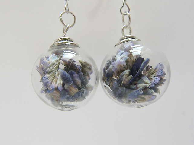 Real Lavender Earrings in Hand Blown Glass Beads - LAVENDER