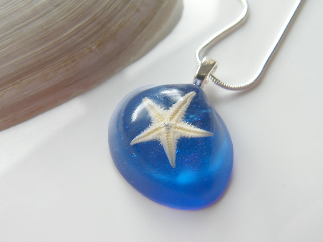 Real Starfish Blue Eco Friendly Resin Pendant