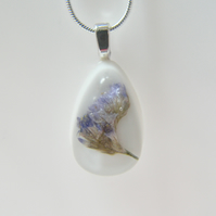 Real Sea Lavender White Resin Necklace Teardrop Pendant - SEA LAVENDER