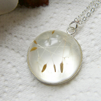 Real Dandelion Seeds Wish Necklace Botanical Specimen - MAKE A WISH