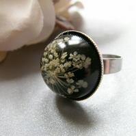 Winter Snowflake Real Queen Anne's Lace Resin Ring - SNOWFLAKE