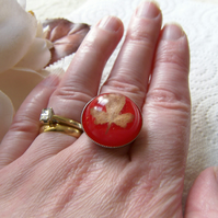 Real Autumn Leaf Ring Nature Specimen Wearable Art - AUTUMN LEAF
