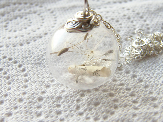 Dandelion Seed and Scroll Message Glass Globe Necklace, Make a Wish