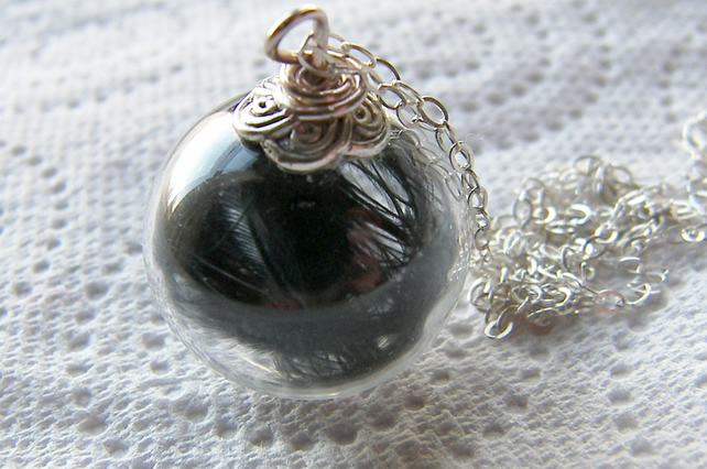 Hand blown Glass Globe Necklace with Black Marabou Feathers - ANGEL