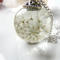 Queen Annes Lace Flower Resin Orb Sphere Necklace, Snowflake
