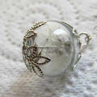 Real Dandelion Seeds Tiny Glass Globe Necklace - MAKE A WISH