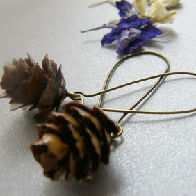 Real Miniature Pine Cone Earrings