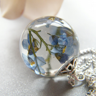 Forget me Not Real Flower Resin Orb Sphere Necklace