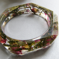 Green Tea and Roses Resin Bangle
