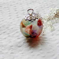 Gemstone Resin Orb Necklace on Sterling Silver Chain