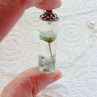 Daisy Resin Necklace with Fluorite Gemstones Sterling Silver Chain