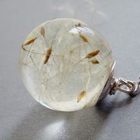 Floating Dandelion Seed Globe Orb Necklace