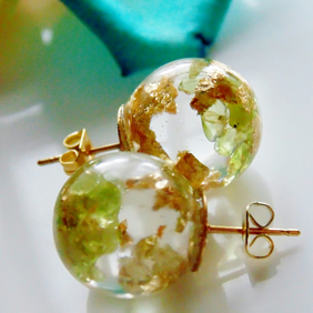 Natural Peridot Earrings with Gold Flakes, Resin Orb Earrings