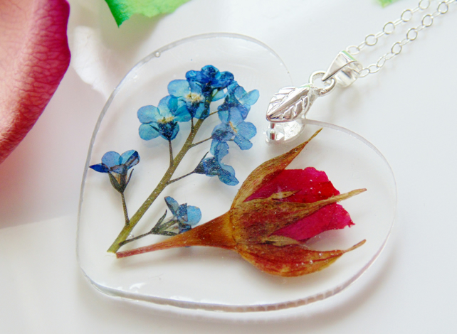 Forget me Not Necklace, Rose Pendant, Real Flower Necklace, Heart