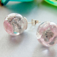 Natural Rose Quartz with Silver Flakes, Stud Earrings
