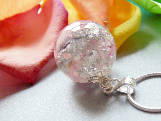 Rose Quartz with Silver Flake Resin Pendant, Resin Orb Necklace