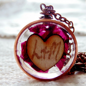 Copper Frame Pendant, Dried Rose Petals, Eco Resin Necklace