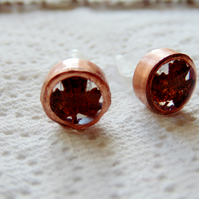 Leaf Earrings, Copper Earrings, Autumn leaf earrings, Stud Earrings