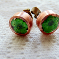 Green Flower Earrings, Copper Earrings, Eco Resin Earrings, Stud Earrings