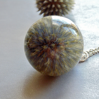 Scottish Thistle Pendant, Large Resin Orb, Thistle Necklace