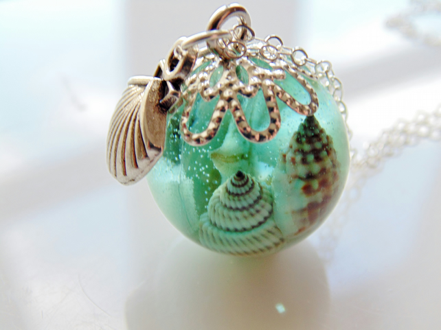 Starfish Orb Necklace, Mermaid Necklace, Aqua Shell Pendant