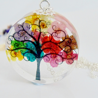 Rainbow Flower Tree Necklace, Tree Pendant, Gift for Mum, Botanical Jewellery