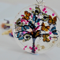 Butterfly Tree Necklace, Tree Pendant, Mothers day Gift, Whimsical Necklace