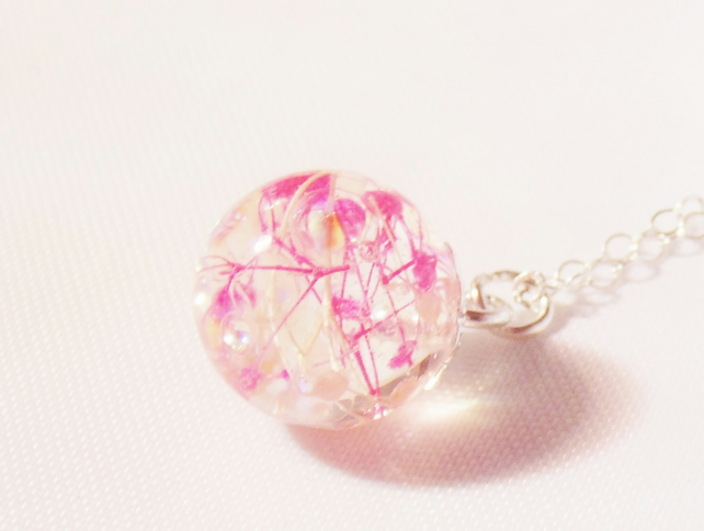 Cherry Blossom Dewdrop Necklace, Real Flower Jewelry, Flower Necklace