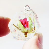 Dewdrop Rose Necklace, Real Flower Necklace, Resin Necklace, Hexagon Pendant