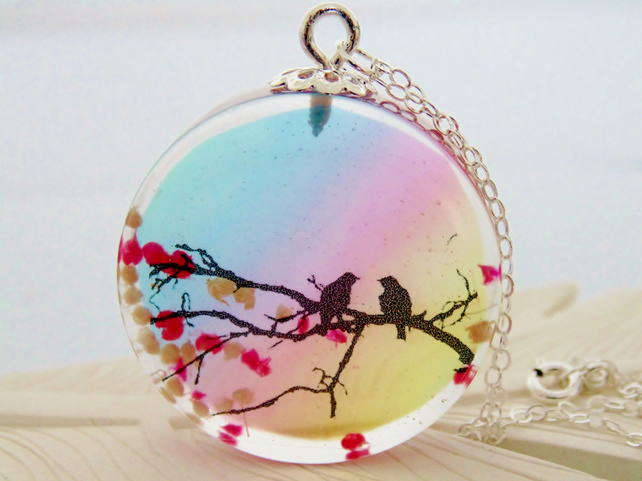 Love Birds Necklace, Birds on Branch, Bird Necklace, Spring Blossom Necklace