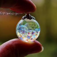 Resin Sphere Necklace, Fairy Wishes, Magical Bubble Necklace