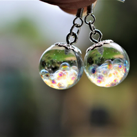 Fairy Bubble Resin Earrings, Fairy Earrings, Bubble Sphere Earrings