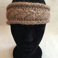 100% Alpaca hankknitted cable headband