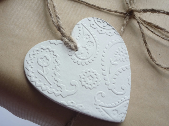 Pretty White Clay Hanging Heart with Embossed Pattern