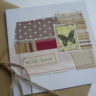 'With love '  Pink Stripes Chocolate Brown Dots Butterfly Card