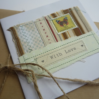 'With Love' Pale green and White Hearts Butterfly Card