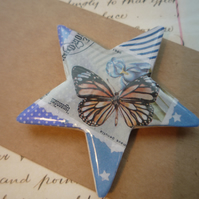 Pretty Butterfly Stamp-Star Magnet.