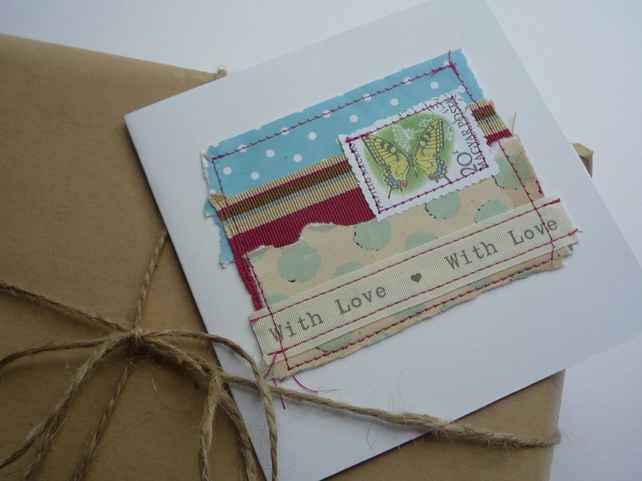 'With Love' Red Stripe Yellow Butterfly Card