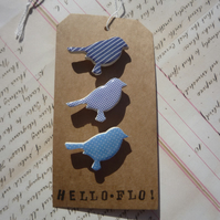 Pretty Patterned bird Brooch Pins with Dots and Stripes