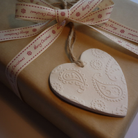 Christmas White Clay Hanging Heart with Embossed Pattern