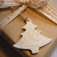 Christmas White Clay Hanging Tree with Embossed Pattern