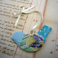 Pretty Turquoise Collage Hanging Bird