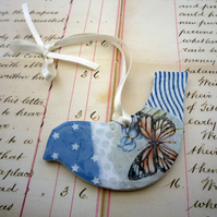 Pretty Decorative Hanging Blue Star Bird
